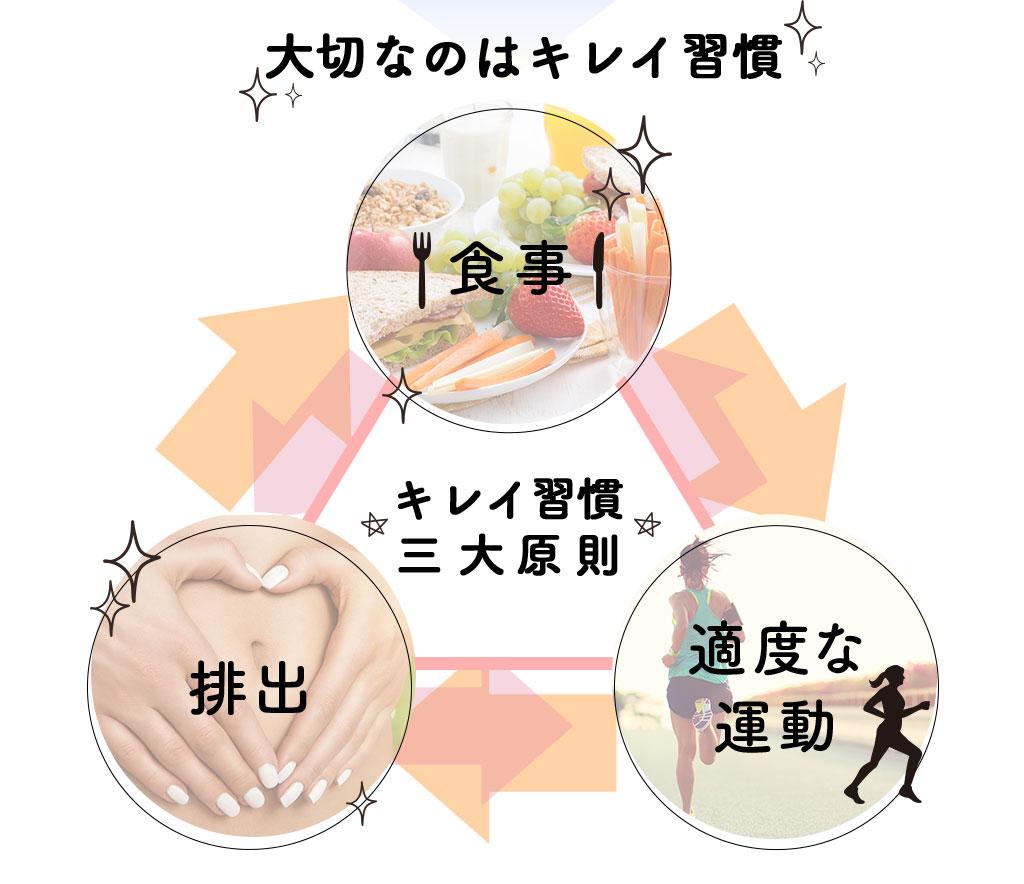 大切なのはキレイ習慣 食事・適度な運動・排出のキレイ習慣三大原則