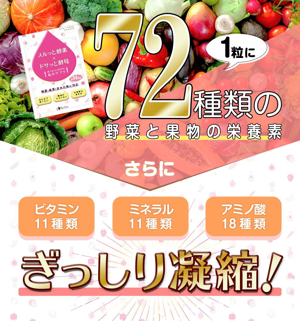 1粒に72種類の野菜と果物の栄養素 さらにビタミン11種類・ミネラル11種類・アミノ酸18種類をぎっしり凝縮!